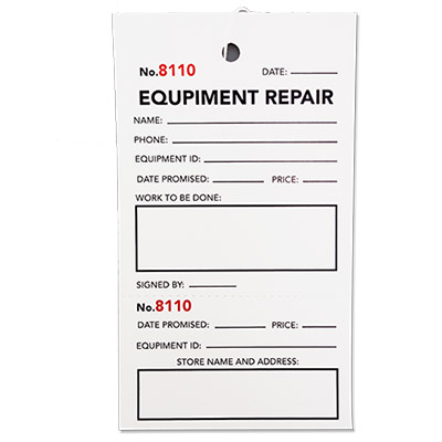 2 Part Equipment Repair Tag 2