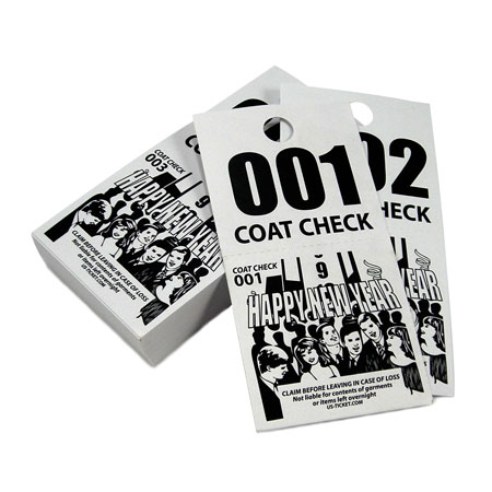 2 Part New Years Coat Check Tickets