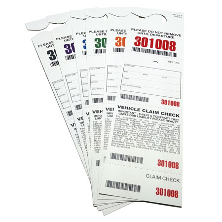4 Part Hanging Valet Ticket