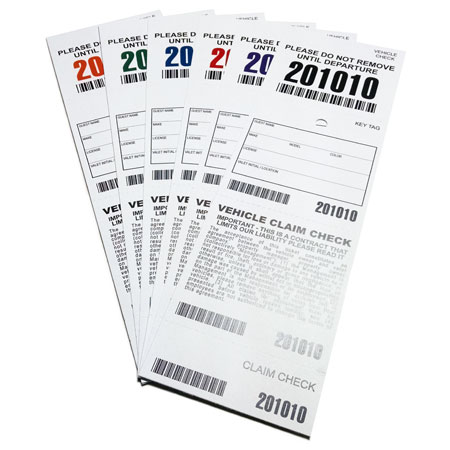 4 Part Barcoded Valet Ticket (3in  x  9.25in)