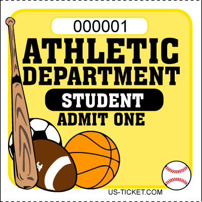 Athletic-Admit-One-Roll-Ticket-Student-Yellow