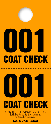 2 Part Coat Check Ticket - Value Size