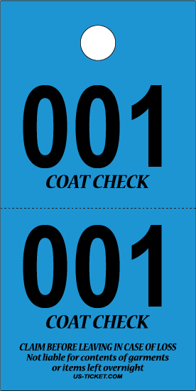 3 Part Coat Check Ticket