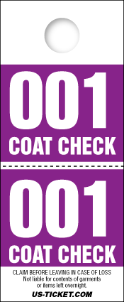 Red 2 Part Coat Check Tickets