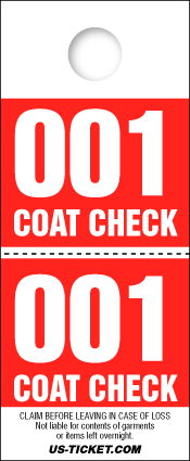 2 Part PRO Coat Check Tickets - Value Size