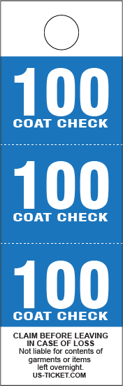 Blue 3 Part Coat Check Tags