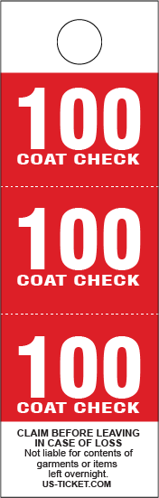 Red 3 Part Coat Check Tags