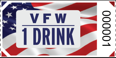 VFW 1 Drink  Flag Roll Ticket