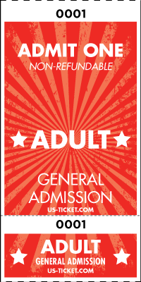 Admit One Adult Roll Ticket - 2 Part Admission Style