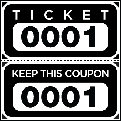 Large Print Numbered Double Roll Ticket Black