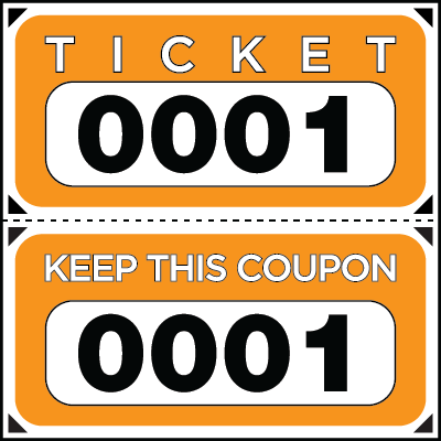 Large Print Numbered Double Roll Ticket Orange