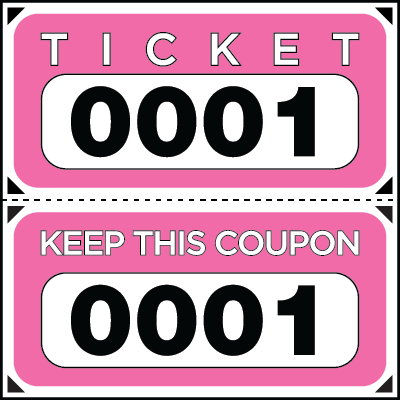 Large Print Numbered Double Roll Ticket Pink