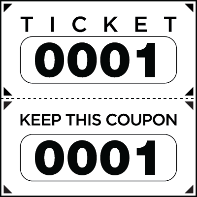 Large Print Numbered Double Roll Ticket White