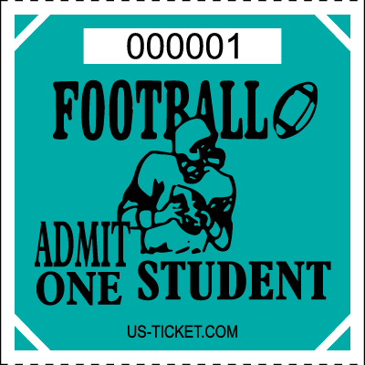 Premium Student Football Roll Ticket Aqua