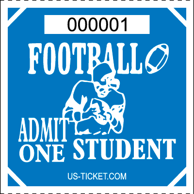 Premium Student Football Roll Ticket Blue