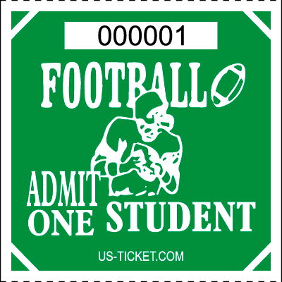 Premium Student Football Roll Ticket Green