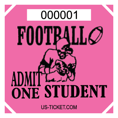 Premium Student Football Roll Ticket Pink