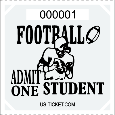 Premium Student Football Roll Ticket White