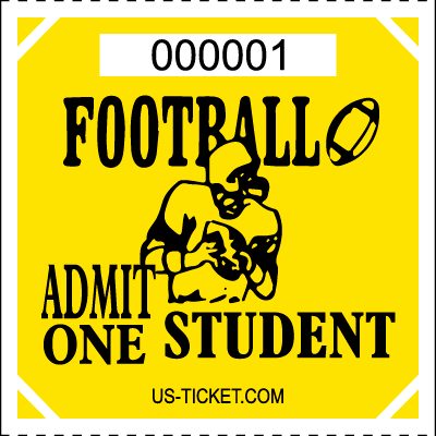 Premium Student Football Roll Ticket Yellow