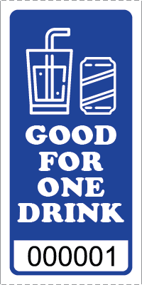 Premium Good for One Drink Ticket Blue