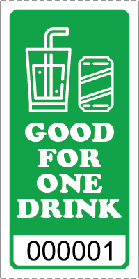 Premium Good for One Drink Ticket Green