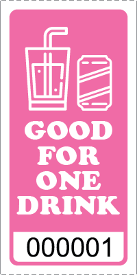 Premium Good for One Drink Ticket Pink
