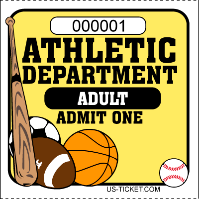 Athletic-Adult-Admit-One-Roll-Ticket-Yellow
