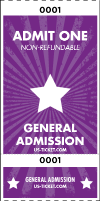 Admit One General Admission Roll Ticket - 2 Part Style
