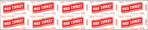 Ride Roll Ticket Star Design