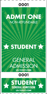 Admit One Student Roll Ticket - 2 Part Admission Style