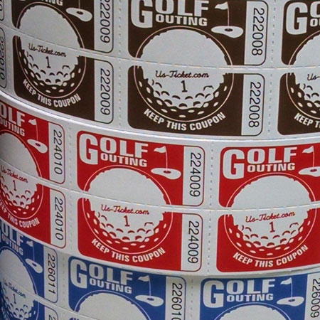 Golf Outing Roll Tickets Close Up