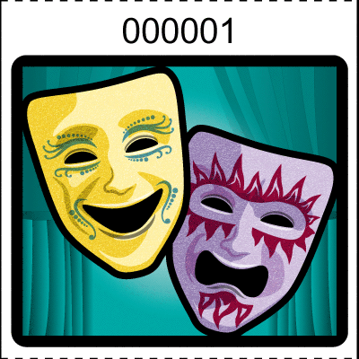 Theater Mask Roll Tickets Aqua