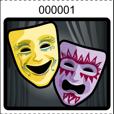 Theater Mask Roll Tickets Black
