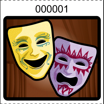 Theater Mask Roll Tickets Brown