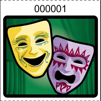 Theater Mask Roll Tickets Green