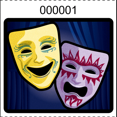 Theater Mask Roll Tickets Navy