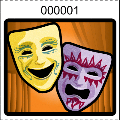 Theater Mask Roll Tickets Orange