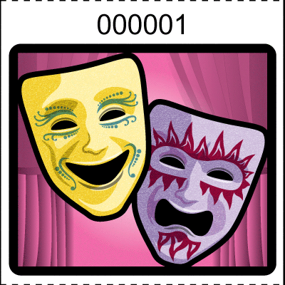 Theater Mask Roll Tickets Pink