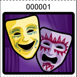 Theater Mask Roll Tickets Purple