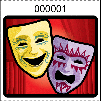Theater Mask Roll Tickets Red