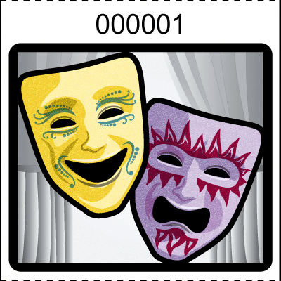Theater Mask Roll Tickets White