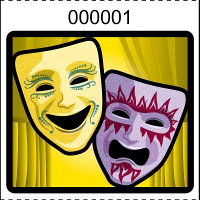 Theater Mask Roll Tickets Yellow
