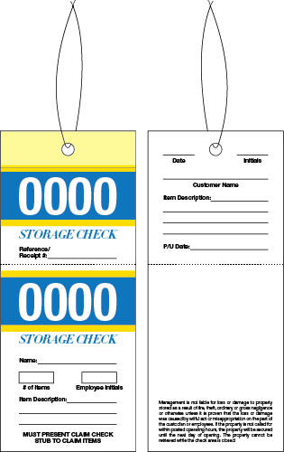 2 Part Storage Check Tag
