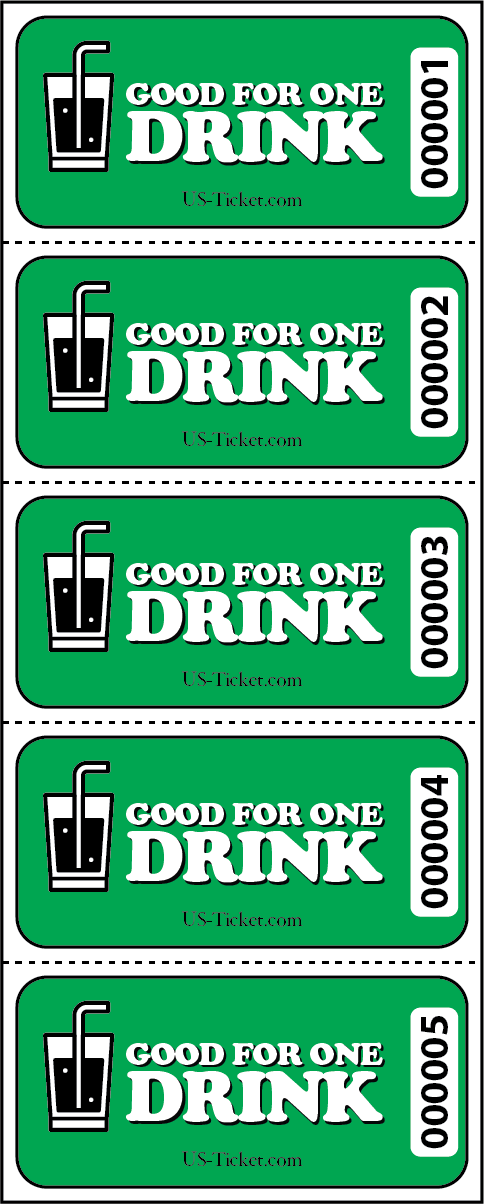 Good for One Drink Sheet Tickets