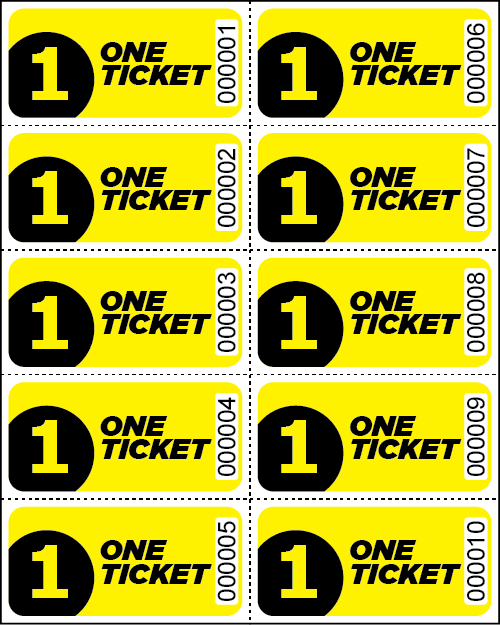 One Ticket Sheet Tickets - Sheets of 10