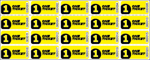 One Ticket Sheet Tickets - Sheets of 20