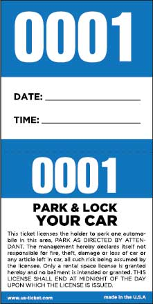 2 Part Self Parking Valet Tickets