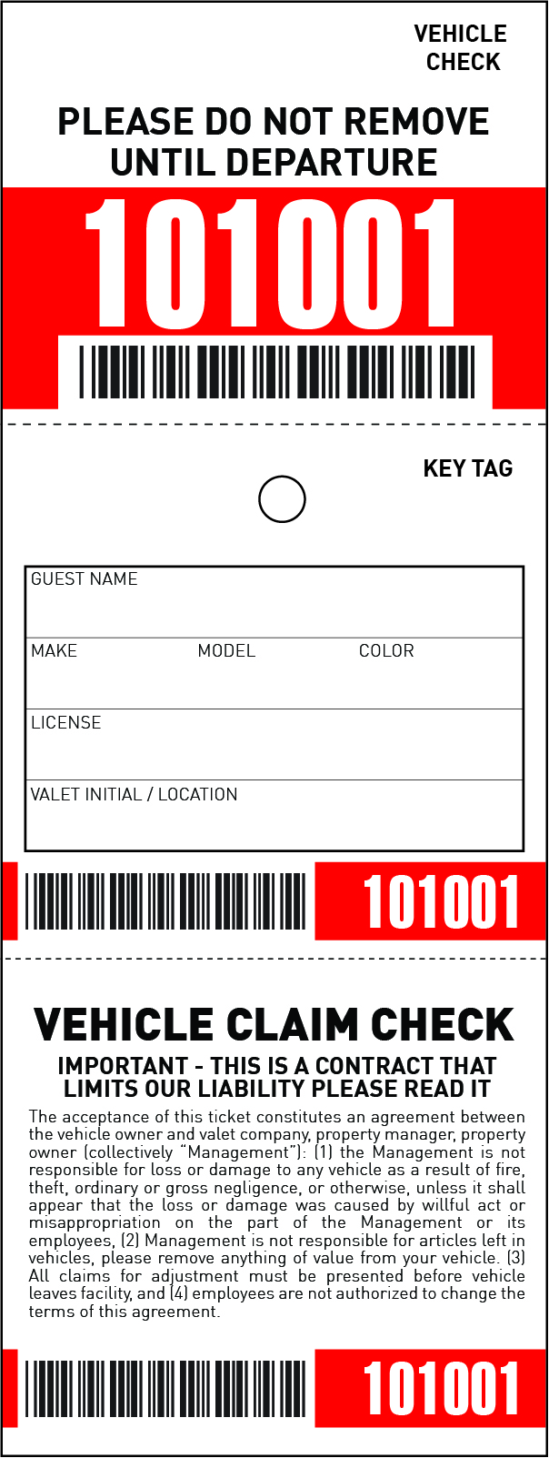 3 Part Barcoded Valet Ticket (3in x 8in)