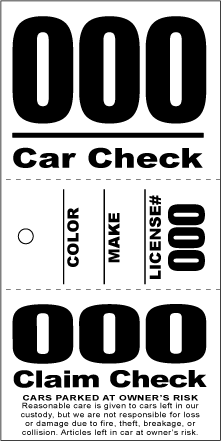 3 Part Valet Ticket With Vehicle Diagram