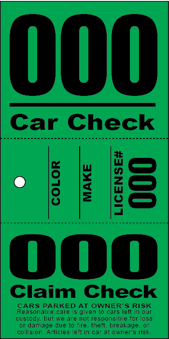 3 Part Valet Ticket - Colored Stock